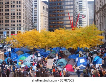 NEW YORK CITY - NOVEMBER 14: Occupy Wall Street protesters live in a tent city as autumn approaches, November 14, 2011 in New York City, NY. The protest against the financial system began September 17, 2011.