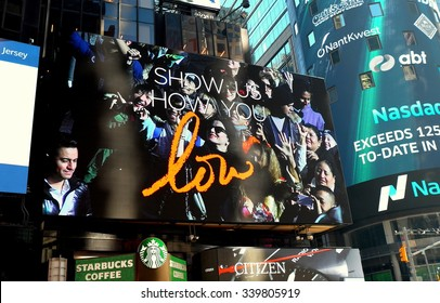 "New York City - November 15, 2015:  Revlon's outdoor Jumbotron screen ""Show Us How You Love"" in Times Square"