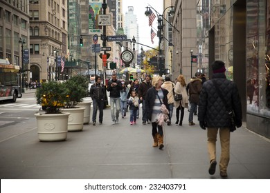 NEW YORK CITY - NOVEMBER 16, 2014:  View on Fifth Avenue in Midtown Manhattan