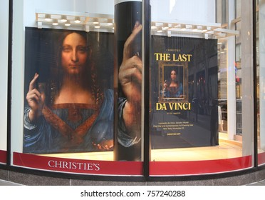 NEW YORK CITY - NOVEMBER 16, 2017: Christie's main headquarters at Rockefeller Plaza in New York. Long-lost da Vinci painting fetches $450 million, a world record at Christie's in NY in November 2017