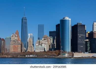 NEW YORK CITY, NOVEMBER 18:  The Lower Manhattan skyline in New York City pictured on November 18th, 2014.  The One World Trade Center dominates the skyline.