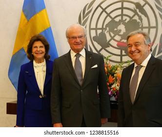 NEW YORK CITY - NOVEMBER 19 2018: UN Secretary-General Antonio Guterres received King Gustaf XVI & Queen Sivila of Sweden in his 38th floor UN headquarters.