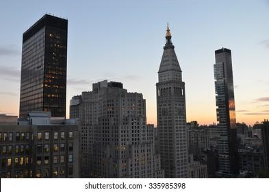New York City - November 2, 2014: Sunset in NYC