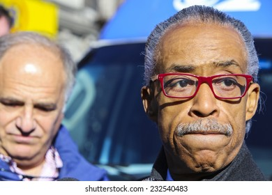 NEW YORK CITY - NOVEMBER 22 2014: Rev Al Sharpton held a rally at National Action Network headquarters to protest the shooting death of Akai Gurley by NYPD officers. Rev Sharpton after rally.