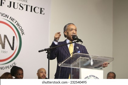 NEW YORK CITY - NOVEMBER 22 2014: Rev Al Sharpton held a rally at National Action Network headquarters to protest the shooting death of Akai Gurley by NYPD officers. Rev Sharpton addresses NAN rally