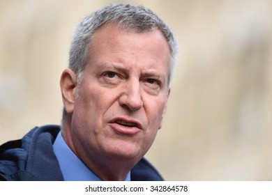 NEW YORK CITY - NOVEMBER 22 2015: Emergency response personnel staged an active shooter exercise in Manhattan's Lower East Side. Mayor Bill de Blasio.
