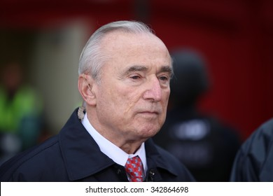 NEW YORK CITY - NOVEMBER 22 2015: Emergency response personnel staged an active shooter exercise in Manhattan's Lower East Side. FDNY commissioner William Bratton