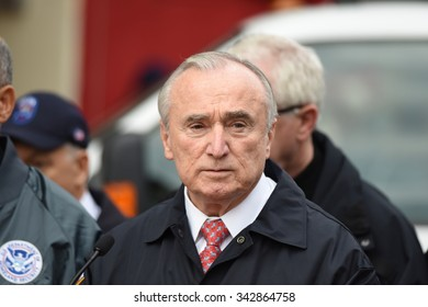 NEW YORK CITY - NOVEMBER 22 2015: Emergency response personnel staged an active shooter exercise in Manhattan's Lower East Side. NYPD commissioner William Bratton