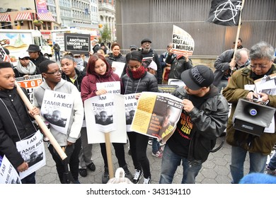 NEW YORK CITY - NOVEMBER 22 2015: Stop Mass Incarcerations Network sponsored a children's march on the anniversary of Tamir Rice's death by police.