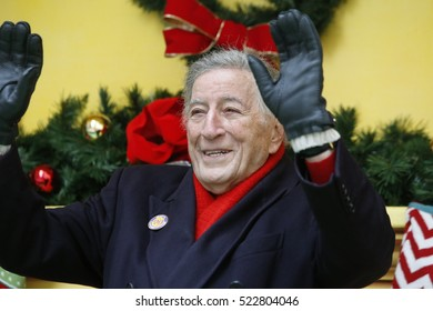 NEW YORK CITY - NOVEMBER 24 2016: Macy's Thanksgiving Day Parade celebrated its 90th anniversary with heightened security along its route. Singer & legend Tony Bennett