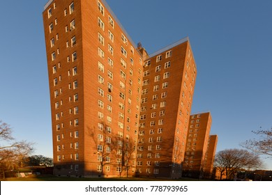 NEW YORK CITY - NOVEMBER 24 2017: Views of New York City Housing Authority residences: Red Hook Houses. Unit with exaggerated perspective