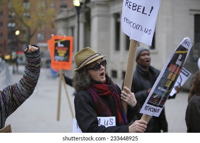 NEW YORK CITY - NOVEMBER 25 2014: activists took to the streets of New York City for the second day protesting the Ferguson grand jury's failure to indict Darren Wilson in the death of Michael Brown