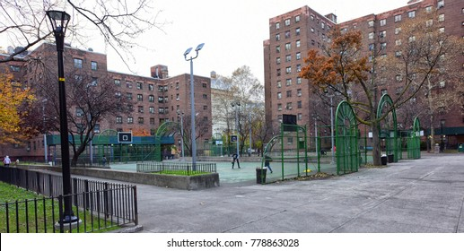 NEW YORK CITY - NOVEMBER 25 2017: Views of New York City Housing Authority residences: Farragut & Ingersoll Houses in Brooklyn