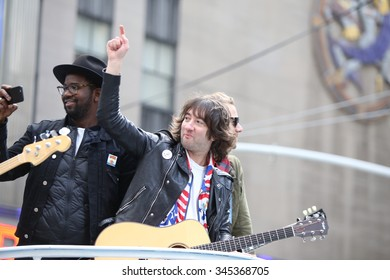 """NEW YORK CITY - NOVEMBER 26 2015: The 89th Macy's Thanksgiving Day parade attracted hundreds of thousands of spectators in spite of threats of possible terrorist action. Rock band """"Panic"""""""