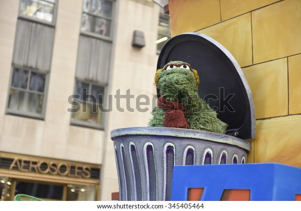 NEW YORK CITY - NOVEMBER 26 2015: The 89th Macy's Thanksgiving Day parade attracted hundreds of thousands of spectators in spite of threats of possible terrorist action. Sesame Street float