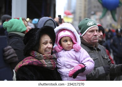 NEW YORK CITY - NOVEMBER 27 2014: the 88th annual Macy's Thanksgiving Day parade stretched from Manhattan's Upper West Side to Herald Square, viewed by 350,000 spectators.