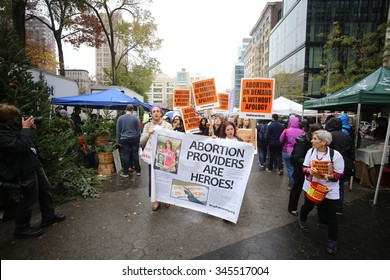 NEW YORK CITY - NOVEMBER 28 2015: activists with Stop Mass Incarceration Network & Stop Patriarchy Org rallied in Union Square to support Planned Parenthood in wake of the Colorado Springs shooting