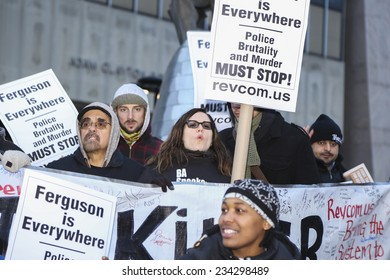 NEW YORK CITY - NOVEMBER 29 2014: the Revolutionary Communist Party held a rally in Harlem demanding justice for Michael Brown followed by s brief march to the 28th precinct. Sunsara Taylor speaks out