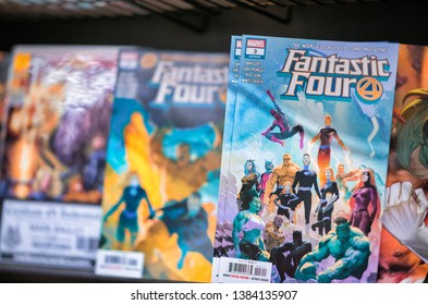 NEW YORK CITY - NOVEMBER 30, 2018: Fantastic Four Comics in a comics shop. This comic has been the first from Marvel.