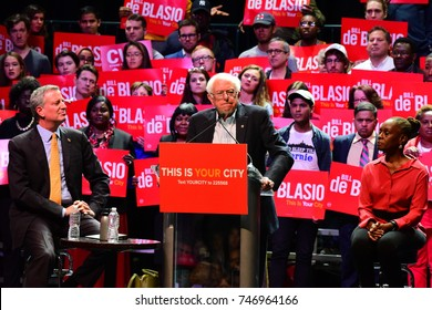 NEW YORK CITY - NOVEMBER 30 2017: US Senator from Vermont Bernie Sanders joined Mayor Bill de Blasio & Chirlane McCray to support the mayor's bid for re-election