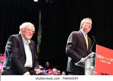 NEW YORK CITY - NOVEMBER 30 2017: US Senator from Vermont Bernie Sanders joined Mayor Bill de Blasio & Chirlane McCray to support the mayor's bid for re-election