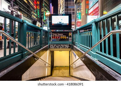 NEW YORK CITY - NOVEMBER 5: Times Square, 42 St Subway Station entrance in Manhattan on November 5, 2014. Owned by the NYC Transit Authority, the subway system has 469 stations in operation.