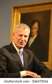 NEW YORK CITY - NOVEMBER 6 2015: Mayor de Blasio hosted an hour-long press conference in city hall's Blue Room to respond to criticism that he has not always been responsive to media