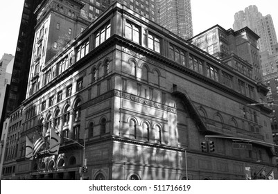 New York City - November 6, 2016: Carnegie Hall, Manhattan, New York City, USA