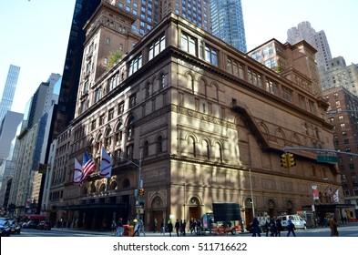 New York City - November 6, 2016: Carnegie Hall, Manhattan, New York City, USA