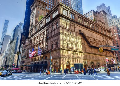 New York City - November 6, 2016: Carnegie Hall in Manhattan, New York City, USA. Carnegie Hall is a concert venue in Midtown Manhattan in New York City