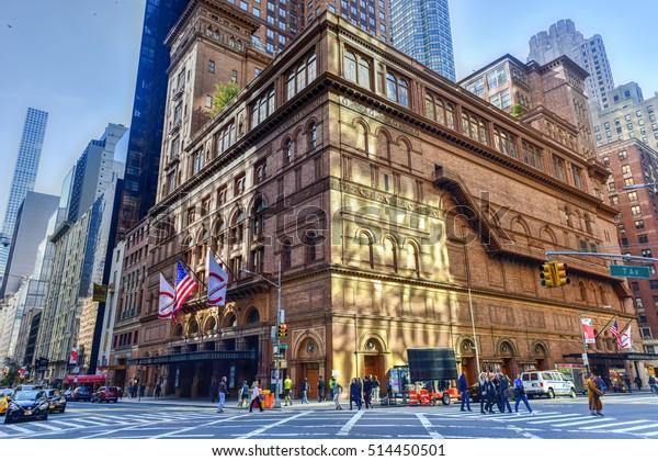 New York City - November 6, 2016: Carnegie Hall in Manhattan, New York City, USA. Carnegie Hall is a concert venue in Midtown Manhattan in New York City