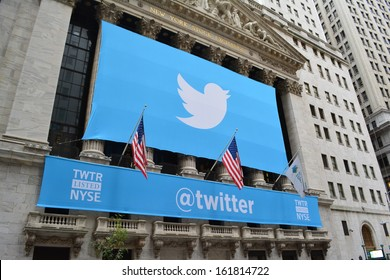 NEW YORK CITY - November 7: Banner on the New York Stock Exchange marking Twitters initial public offering on November 7, 2013 in New York City, NY.