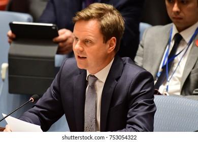NEW YORK CITY - NOVEMBER 7 2017: The UN Security Council heard a report on the status of Bosnia-Herzegovina by High Representative Valentin Inzko. UK representative Stephen Hickey