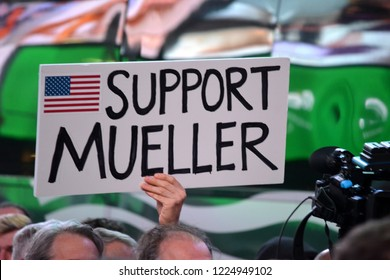 New York City - November, 8, 2018: Protesters gathered in Times Square over President Trump's firing of Attorney General Jeff Sessions and to support special counsel Robert Mueller.