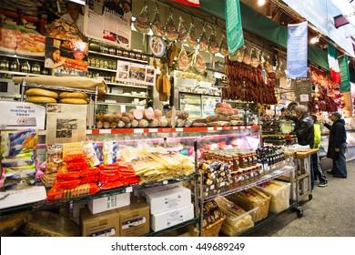 NEW YORK CITY - NOVEMBER 8, 2013:  Italian deli in speciality market in Little Italy, Arthur Avenue in The Bronx