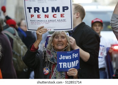 NEW YORK CITY - NOVEMBER 8 2016: Election Day in New York City was marked by a variety of people supporting their favored candidate. Outside Trump Tower on 5th Avenue