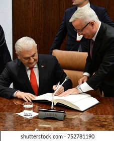 NEW YORK CITY - NOVEMBER 9 2017: Turkish Prime Minister Binali Yildirim met with Secretary-General Antonio Guterres in the latter's UN office before sitting down for a high-level meeting with staffs