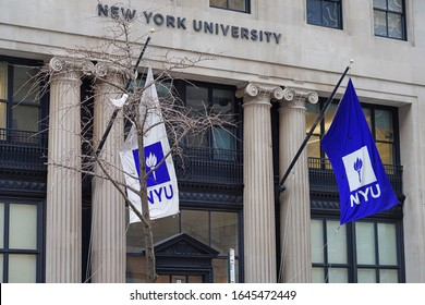 NEW YORK CITY, NY -1 FEB 2020- View of a purple school flag on the campus on New York University (NYU) in Manhattan, New York City, United States.
