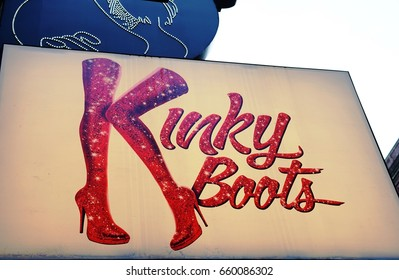 NEW YORK CITY, NY -10 JUN 2017- The musical Kinky Boots at the Al Hirschfeld Theatre on 45th Street in Broadway. Panic! at the Disco singer Brendon Urie is starring in the show until August 2017.