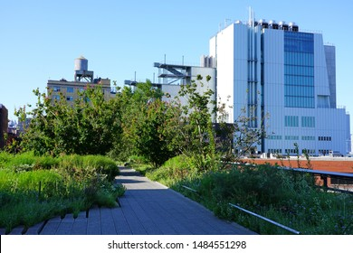 NEW YORK CITY, NY -11 AUG 2019- View of the High Line, an elevated green urban park running along old rail track lines in lower Manhattan, New York City.