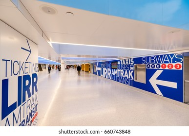 New York City, NY - 15 June, 2017: Newly opened Penn Station renovation. The bold modern design includes wide halls and extra large direction signs to the L.I.R.R. rail road tracks and subway station