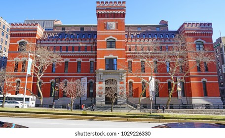 NEW YORK CITY, NY -18 FEB 2018- Exterior view of the Seventh Regiment Armory (Park Avenue Armory), a historic brick building on New York's Upper East Side. It serves as a venue for concerts and events