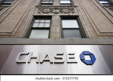 NEW YORK CITY, NY -26 JAN 2017- Sign at the entrance of a Chase branch in Manhattan. President Trump has announced plans to roll back financial regulations imposed after the 2008 crisis.