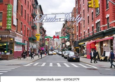 NEW YORK CITY, NY -26 JAN 2017- The Little Italy neighborhood in lower Manhattan near Mulberry Street. It has become smaller as Chinatown got bigger.