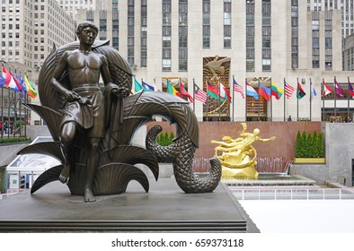 NEW YORK CITY, NY -26 JAN 2017- Day view of Rockefeller Center in New York, a complex of landmark Art Deco buildings along Fifth Avenue on the National Register of Historic Places.