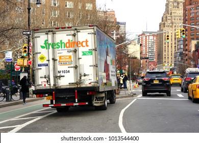 NEW YORK CITY, NY -27 JAN 2018- A Fresh Direct delivery truck on the street in New York City. Fresh Direct is an online grocer delivering in the New York area.