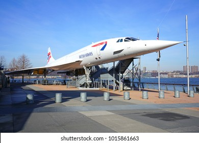 NEW YORK CITY, NY -27 JAN 2018- View of a supersonic Concorde airplane from British Airways on the deck of the USS Intrepid Sea, Air & Space Museum, a historic aircraft carrier in New York City.