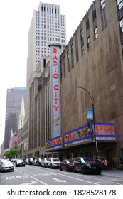NEW YORK CITY, NY -27 SEP 2020- View of the Radio City Music Hall, home of the Rockettes, a landmark venue located in Midtown Manhattan, New York City.
