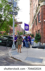 NEW YORK CITY, NY -27 AUG 2017- College move-in day on the campus of New York University (NYU) on Washington Square in New York City.