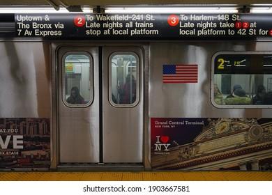 NEW YORK CITY, NY -31 JAN 2020- View of closed doors of an MTA subway car in Manhattan, New York City, United States.
